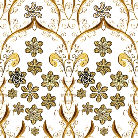 vintage background pattern: Seamless vintage pattern on white background with golden elements. Illustration