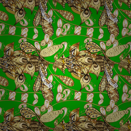 stylishness: Seamless vintage pattern on green background with golden elements.
