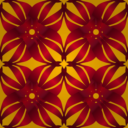 nasturtium: seamless pattern background with yellow, lilac, red and orange flowers Illustration