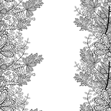 seamless doodle flower pattern in black and white