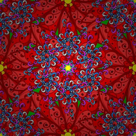 backgrouns: Floral doodles pattern on black backgrouns. Vector illustration.