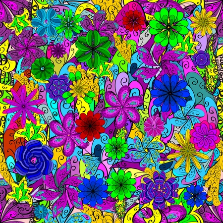 bright color: Floral colorful seamless grunge stained pattern Stock Photo