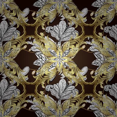 dark brown background: Seamless vintage pattern on dark brown background with golden gradient elements and shadows.