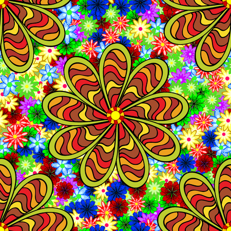 stipes: Five stipes doodles petal flower. Floral colorful seamless grunge stained pattern. Doodles flowers.