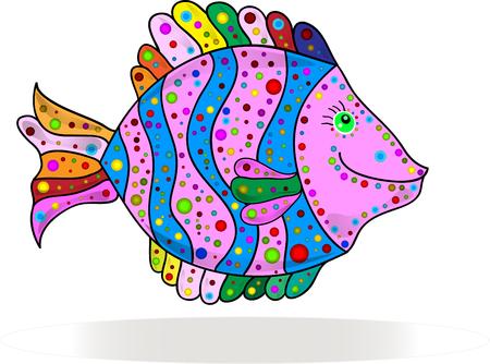 Cute colorful stripes fish cartoon. Vector illustration. Illustration
