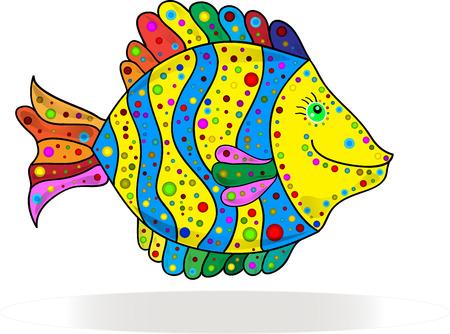 suave: Cute colorful stripe fish cartoon. Vector illustration.