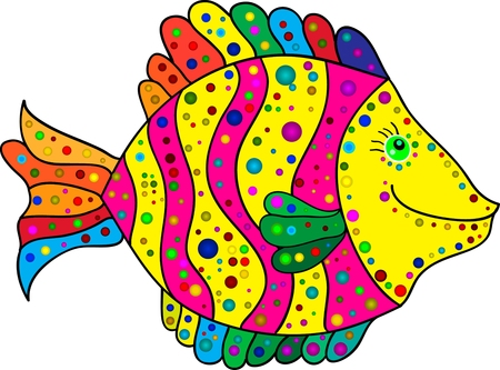 colorful stripes: Cute colorful stripes fish cartoon. Vector illustration. Illustration