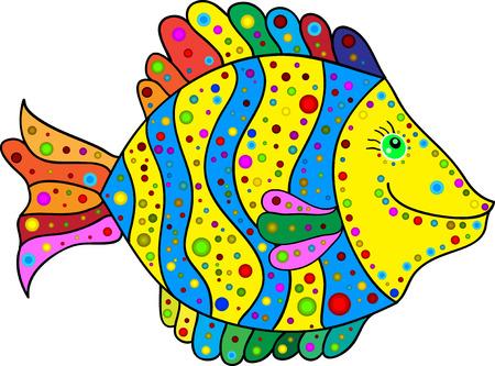 goldenfish: Cute colorful stripes fish cartoon. Vector illustration. Illustration
