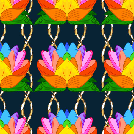 gold leafs: Seamless vintage pattern on dark blue background with green elements