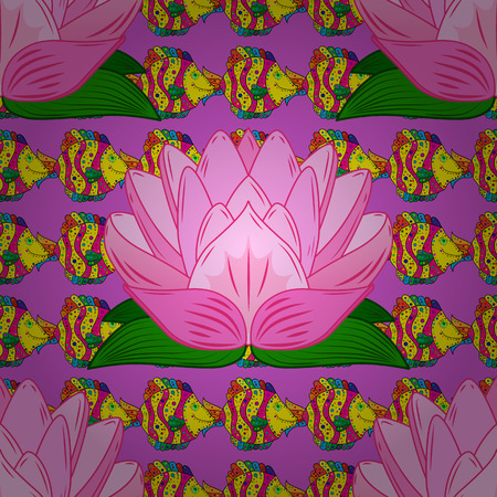 colorful fish: Seamless pattern with colorful fish on lotus background. Vector illustration.