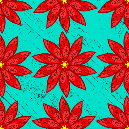 candid: Red flowers pattern on blue roughness background. Vector illustration.