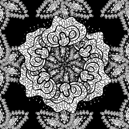 fondle: Seamless vintage pattern on black background with white elements.