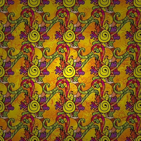 discreet: Ethnic yellow harmonious doodle texture. Indifferent discreet. Curved doodling mehndi motif. Vector.