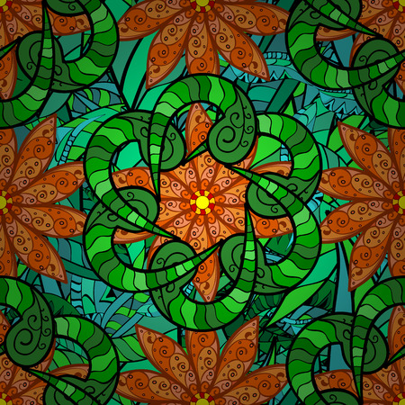 stranded: Vector vivid abstract hand drawn pattern with plants. Illustration