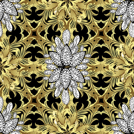 oldest: Seamless vintage pattern on black background with golden and white elements. Illustration