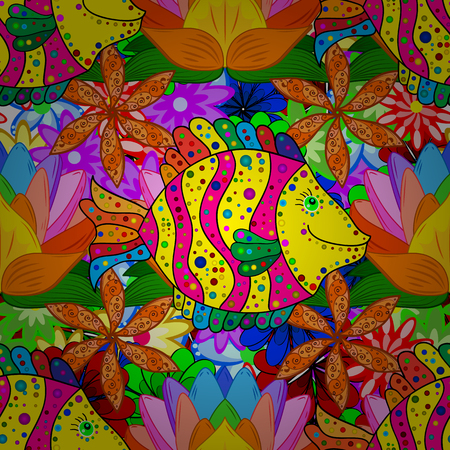 colorful fishes: Doodles colorful fishes on floral background. Vector illustration.