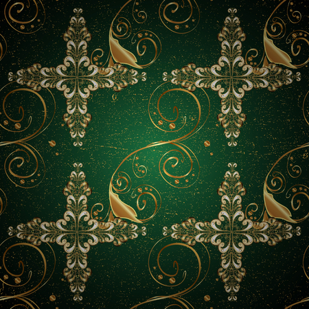 glorious: vintage pattern on green background with golden elements.