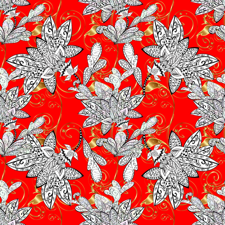 Lace pattern with flowers and golden doodles on red background. Vector illustration. Illustration
