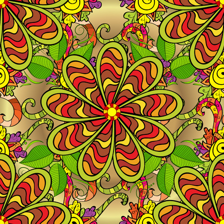 surprising: Vector vivid seamless abstract hand drawn pattern with plants. Illustration