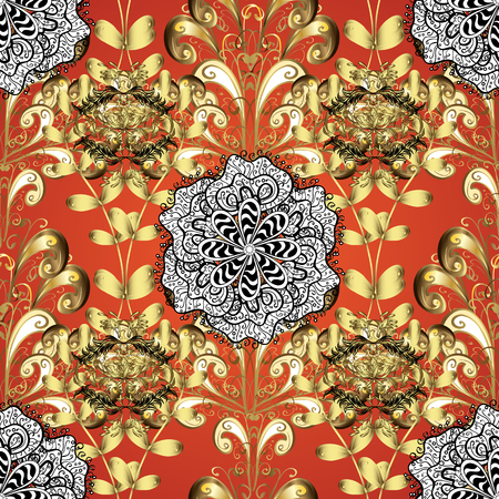 abstract pattern on orange yellow background with floral golden elements. Vector illustration. Pattern background. Illustration