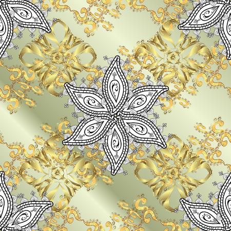 solemn: Vintage pattern on dark grey stripe gradient background with golden elements. Illustration