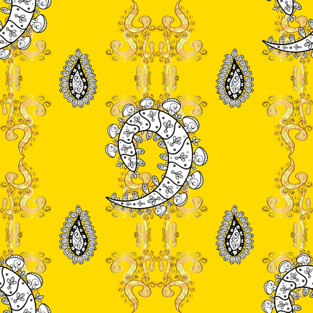 sacramental: Abstract pattern on yellow background with floral golden elements. Vector illustration. Pattern background.