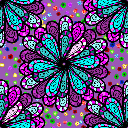 Five petal flower. Mandala doodle style. Seamless pattern Stock Photo