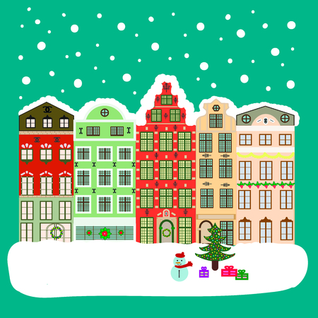 green lantern: Xmas card with a decorated snowy old town at Christmas eve