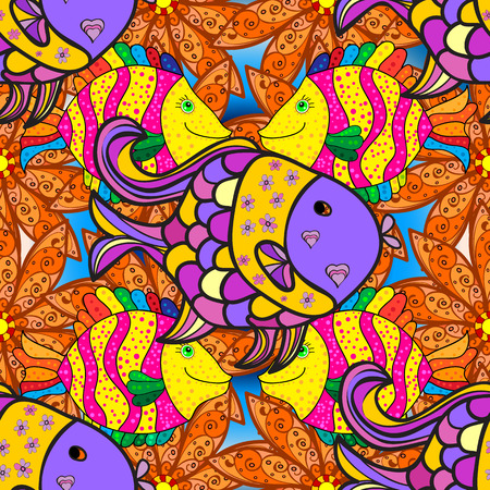 striated: Doodles colorful fishes on yellow and orange floral background. Vector illustration. Illustration