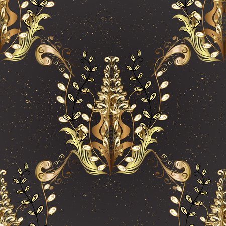 dignified: Vintage pattern on black background with golden elements.