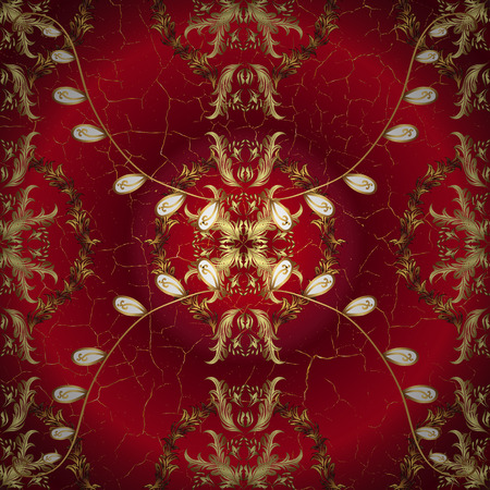 decoupage: abstract pattern on red round gradient background with floral golden elements. Vector illustration. Illustration