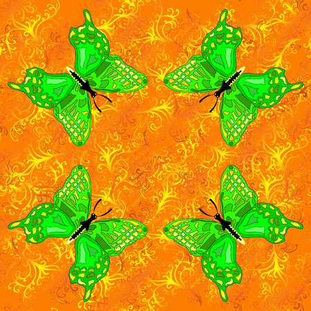 fleecy: Vector Illustration of pattern with green buttrflies on yellow background.