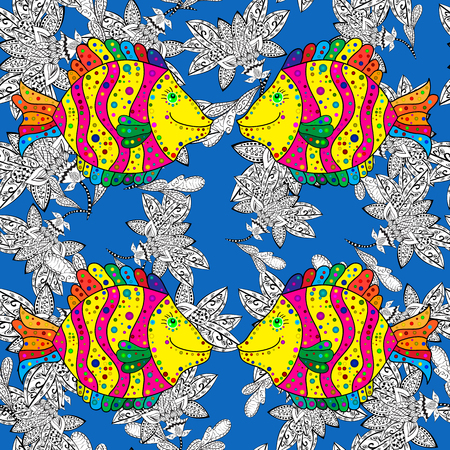colorful fish: Background of colorful fish and doodles seaweed on blue background.