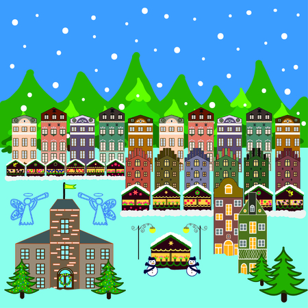 Vector xmas card with a decorated snowy old town at Christmas eve Vettoriali