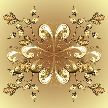 Vintage pattern on yellow and golden gradient background with golden elements and shadows. Illustration