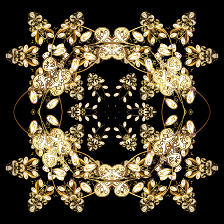 splendor: Oriental vector pattern with arabesque and floral elements. Abstract golden ornament