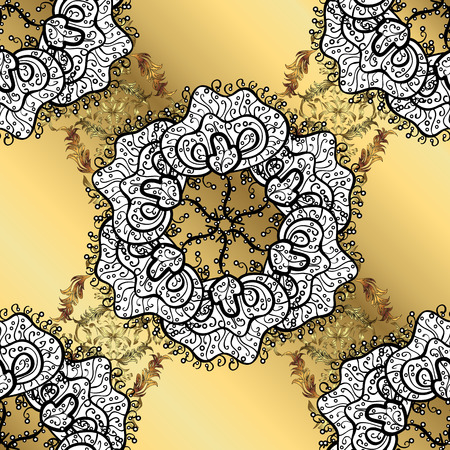 sacramental: Abstract pattern on yellow gradient background with floral golden elements. Vector illustration. Pattern background.