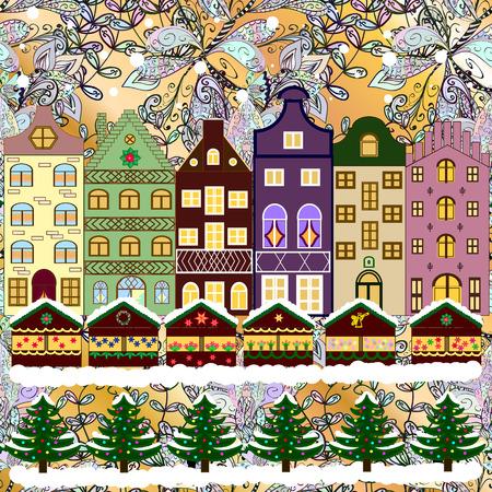 carte noël vecteur avec une vieille ville enneigée décorée à la veille de Noël