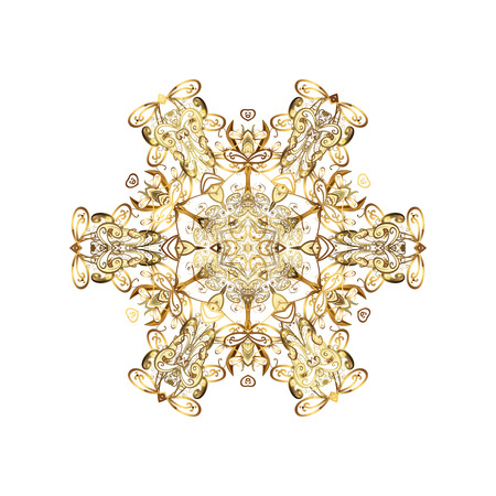 victorian christmas: Oriental pattern with arabesque and floral elements. Abstract golden ornament Stock Photo