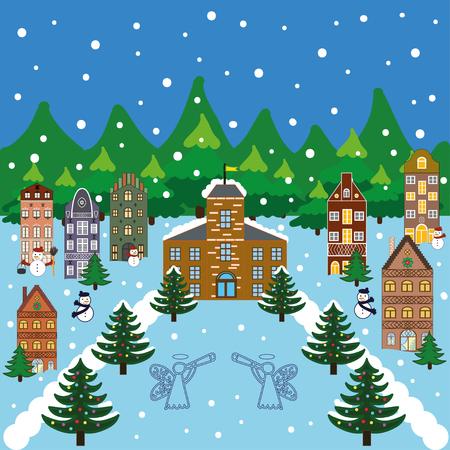 european alps: Winter city flat landscape. Colored vector illustration