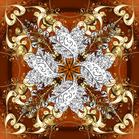 Vintage pattern on brown background with golden and white elements.