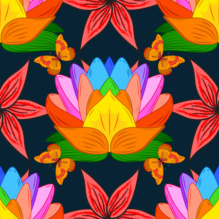 Floral composition with colorful lotus and orange butterflies on black background. Vector illustartion.