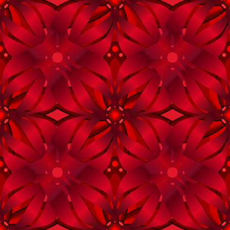 Pattern with red gradient flowers. Vector illustration.