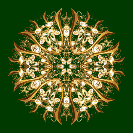 Oriental pattern with arabesque and floral elements. Abstract golden ornament Stock Photo