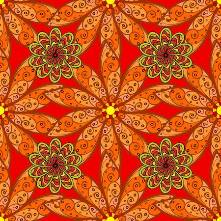 Seamless vintage pattern on orange background with floral elements.