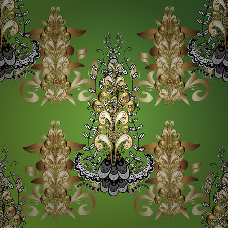 stylishness: vintage pattern on green background with golden elements.