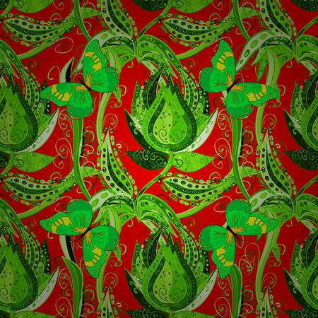 reb: Bright green vintage doodle flowers on reb background. Vector illustration.