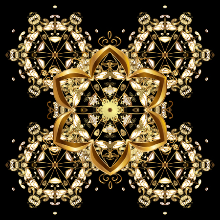 victorian christmas: Oriental vector pattern with arabesque and floral elements. Abstract golden ornament