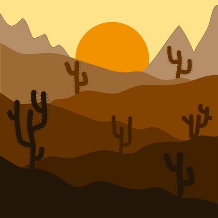 desert sunset: Cactus plants in desert sunset background Illustration