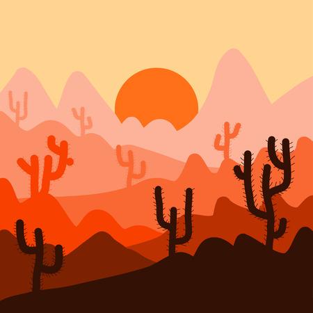 arizona sunset: Cactus plants in desert sunset background Illustration
